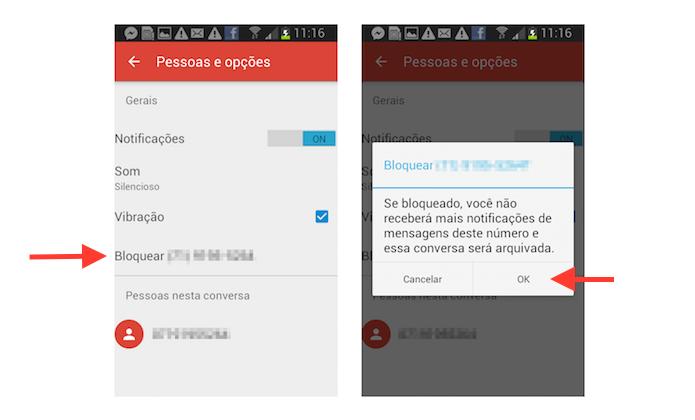 Bloqueando um contato no Google Messenger em um dispositivo Android (Foto: Reprodução/Marvin Costa)