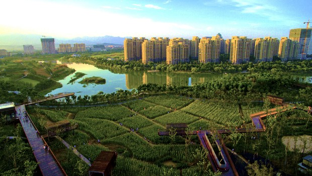 Projeto de terraços verdes na cidade de Quzhou, na China. (Foto: Divulgação)
