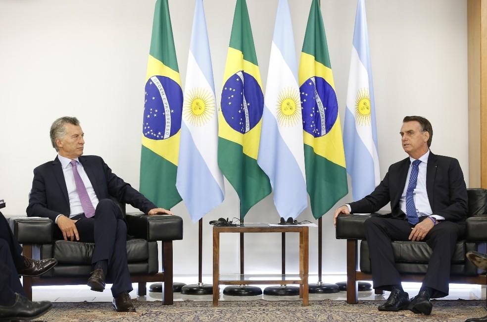 O presidente Jair Bolsonaro durante audiência com o presidente da Argentina, Mauricio Macri, no Palácio do Planalto — Foto: Alan Santos/Presidência da República