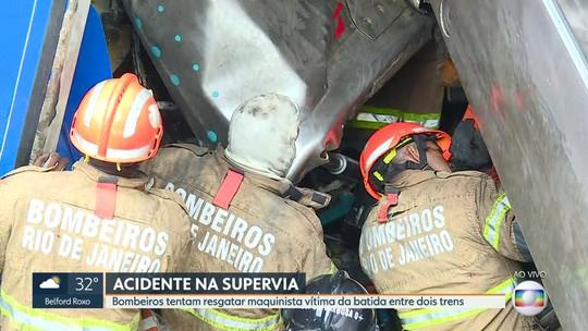 Colisão entre trens deixa 9 feridos no Rio; resgate de maquinista durou mais de 7 horas