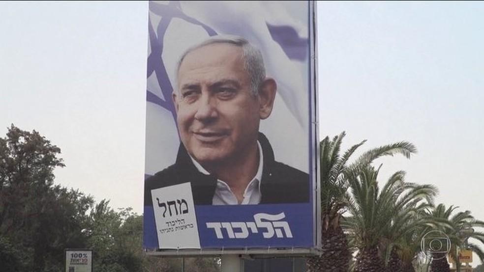 Bibi Netanyahu venceu as eleições e garantiu seu quinto mandato como primeiro-ministro de Israel — Foto: Reprodução/JN