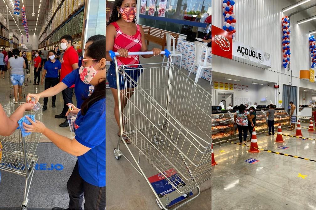Supermercado informou que adotou todas as medidas de segurança como higienização com álcool em gel e sinalização educativa no piso — Foto: Divulgação/Grupo Mateus