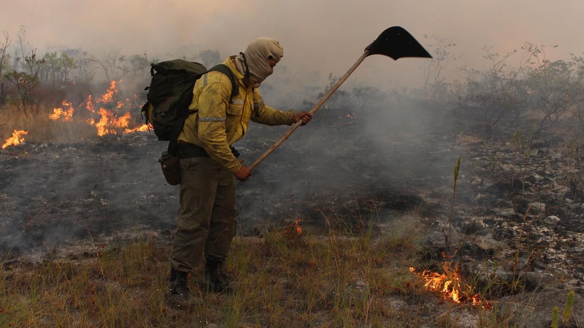 Fotos: ambientalistas voluntários do DF reforçam combate às chamas na Chapada