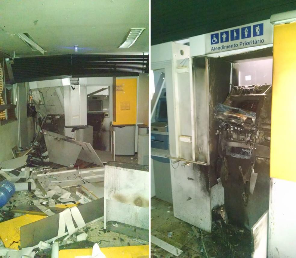 Bandidos explodiram caixas eletrônicos de banco em Gilbués (Foto: Divulgação/Polícia Militar do Piauí)