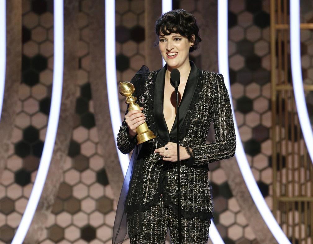 """Phoebe Waller-Bridge vence o Globo de Ouro de melhor atriz em série de TV (Musical ou Comédia) por """"Fleabag"""" — Foto: Paul Drinkwater/NBC via AP"""