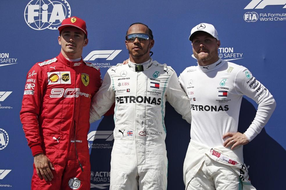 Leclerc, Hamilton e Bottas, os três primeiros no grid em Paul Ricard — Foto: EFE