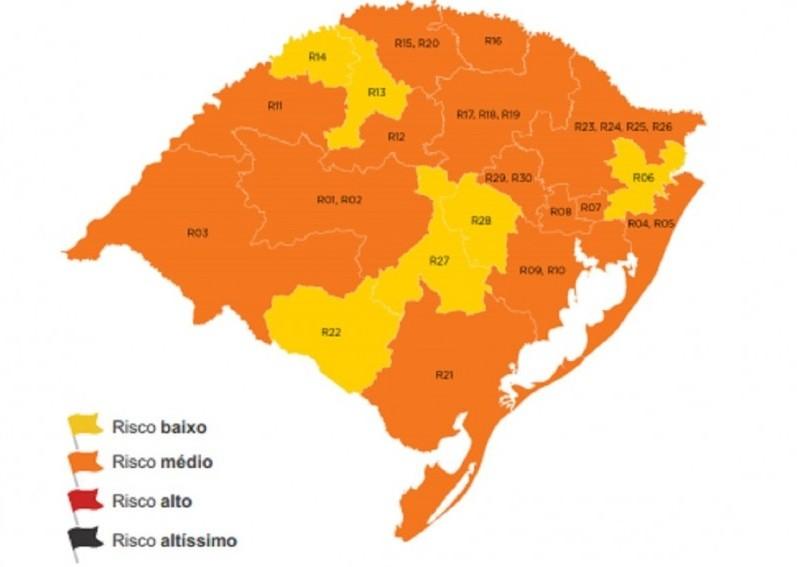 Duas regiões retornam à bandeira laranja no distanciamento controlado do RS