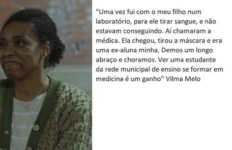 Vilma Melo, que retorna na segunda temporada, é também professora de artes da rede municípal do Rio desde 1993 TV Globo