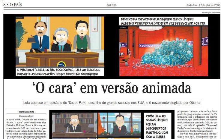 Matéria do GLOBO destacou participação de 'Lula' em episódio de South Park, há dez anos