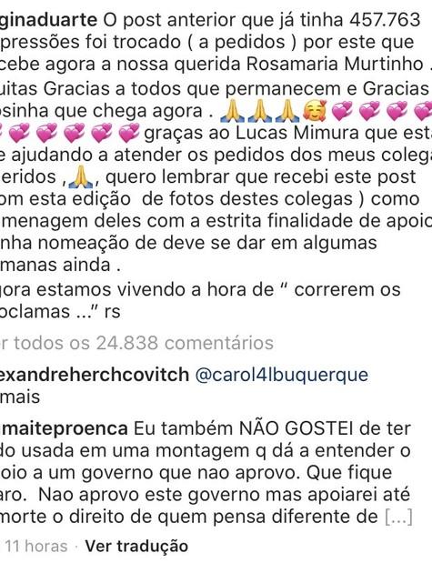 Maitê Proença comentou na publicação de Regina Duarte (Foto: Reprodução)