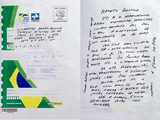 Carta com ameaça de morte ao presidente do Tribunal de Contas do DF, Renato Rainha (Foto: Reprodução)