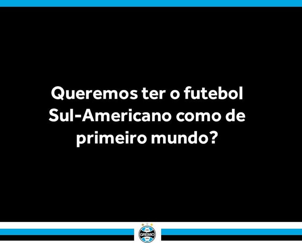 Defesa do Grêmio salienta intenção de melhorar o futebol no continente — Foto: reprodução