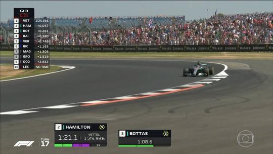 Hamilton supera Vettel em batalha duríssima e faz a pole position em casa