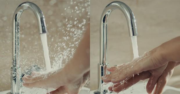 Com a tecnologia Deca Comfort, presente nas torneiras, monocomandos e misturadores de banheiro Deca, o jato d´água será sempre na medida certa, evitando respingos e você pode reduzir o consumo em até 60% (Foto: Divulgação Deca)