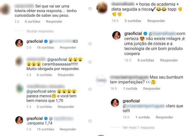Gracyanne Barbosa responde a seguidores (Foto: Reprodução/Instagram)
