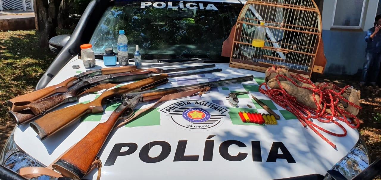 Polícia Ambiental apreende armas, munições e armadilhas com caçador em Ubirajara