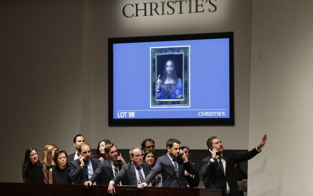 Leilão do quadro 'Salvator Mundi' (Foto: Eduardo Munoz Álvarez / Getty Images / AFP Photo)