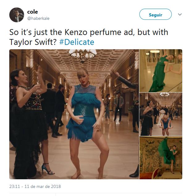"""""""Então é basicamente a propaganda do perfume da Kenzo, mas com  Taylor Swift?"""", questiona um internauta (Foto: Reprodução)"""