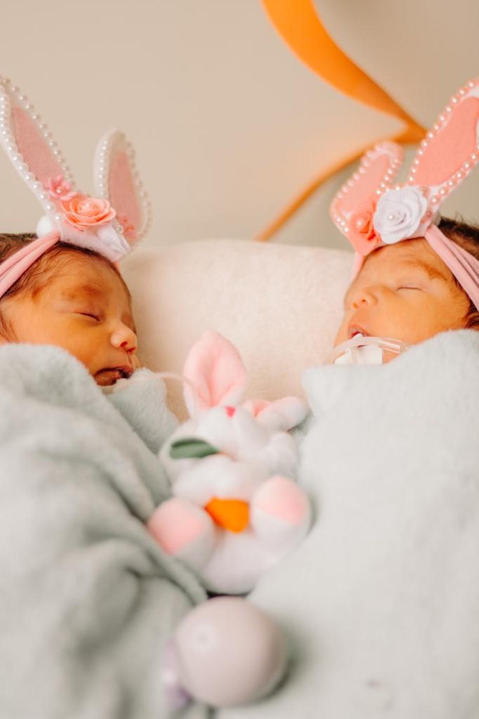 Bebês viraram modelos por um dia em ensaio para a Páscoa — Foto: Arquivo/Hospital Santa Juliana