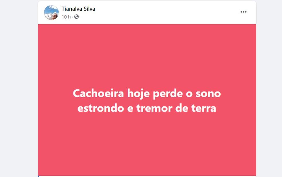 Moradores de Cachoeira, na Bahia, relataram tremor de terra no município na noite de quarta (19) — Foto: Reprodução/Facebook