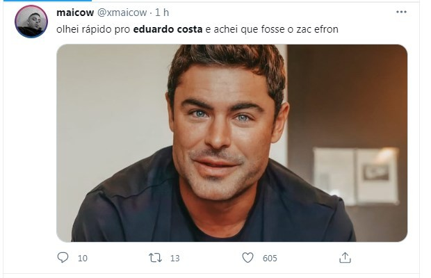 Fãs comparam Zac Efron a Eduardo Costa (Foto: Reprodução/Twitter)