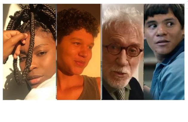 Jeniffer Dias, ator e atriz Gustavo Luz, o veterano Moacyr Franco e o ator indígena Adanilo são alguns dos que fazem participações em 'Segunda chamada' (Foto: Reprodução)