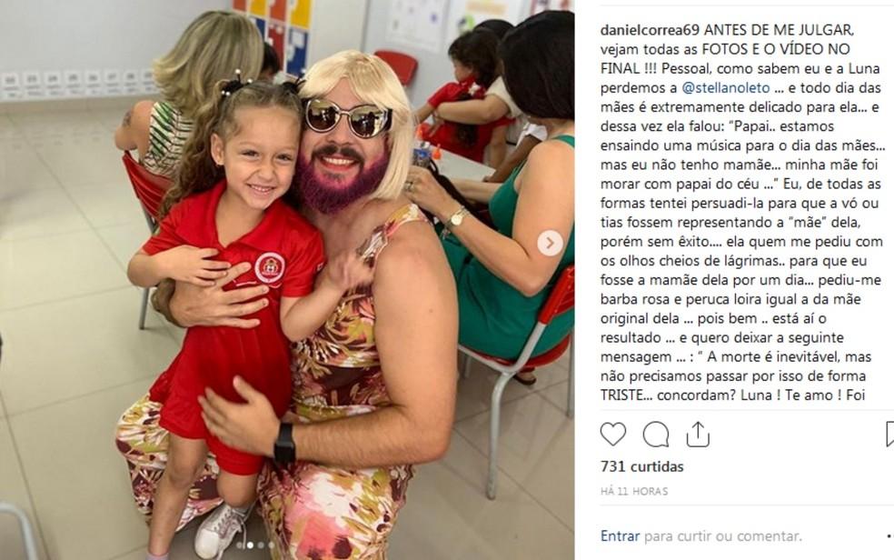 Daniel Correa atendeu pedido da filha Luna e colocou roupa de 'mãe' para ir na festa do Dia das Mães na escola — Foto: Reprodução/Intagram