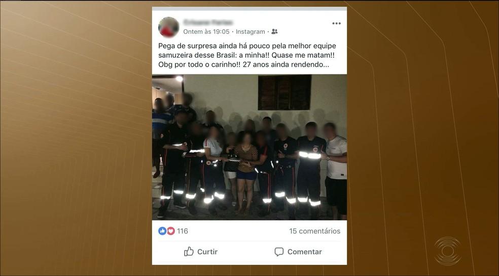 Equipe do Samu usou ambulância para ir a festa de aniversário à coordenadora, em Mamanguape (Foto: Reprodução/TV Paraíba)