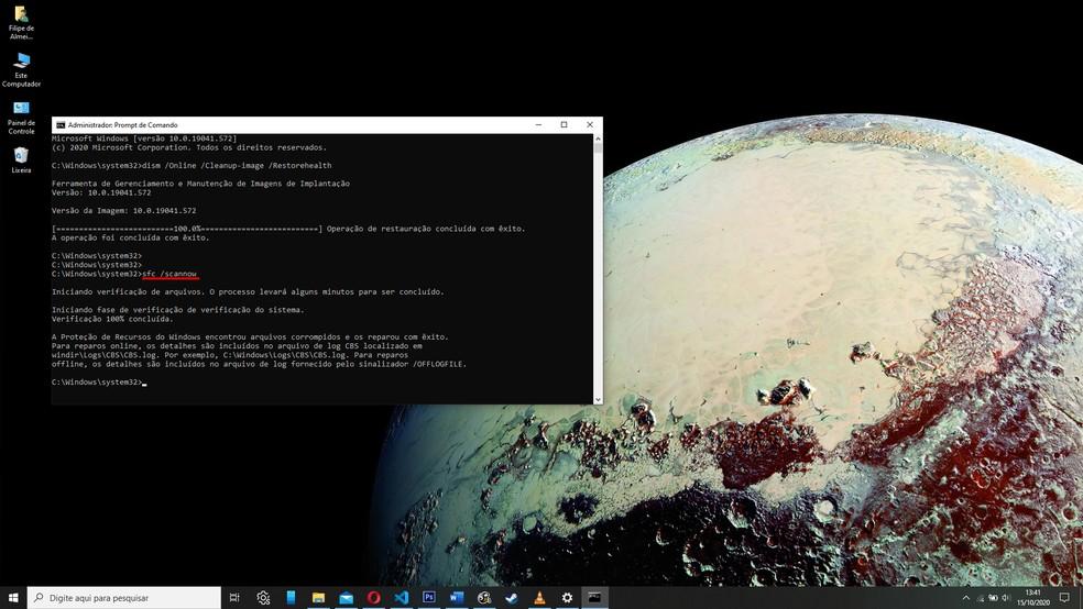 Novo comando testa arquivos do sistema em busca de dados corrompidos e realiza correções — Foto: Reprodução/Filipe Garrett