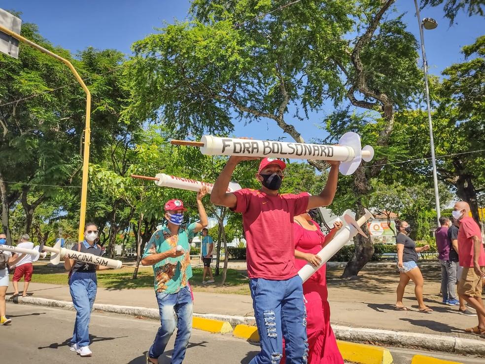 Manifestação contra Bolsonaro em Maceió — Foto: Gustavo Marinho/Arquivo Pessoal