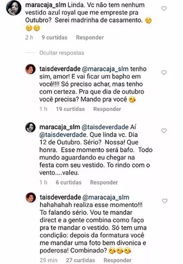 Taís Araújo responde seguidora sobre vestido (Foto: Reprodução / Instagram)