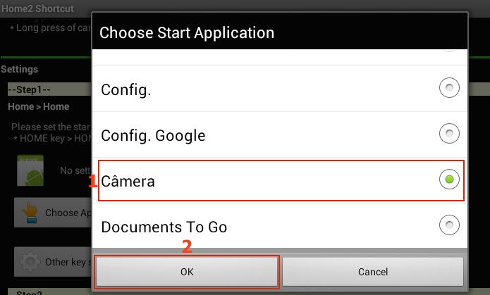 Selecionando a câmera na lista de aplicativos instalados (Foto: Reprodução/Edivaldo Brito)