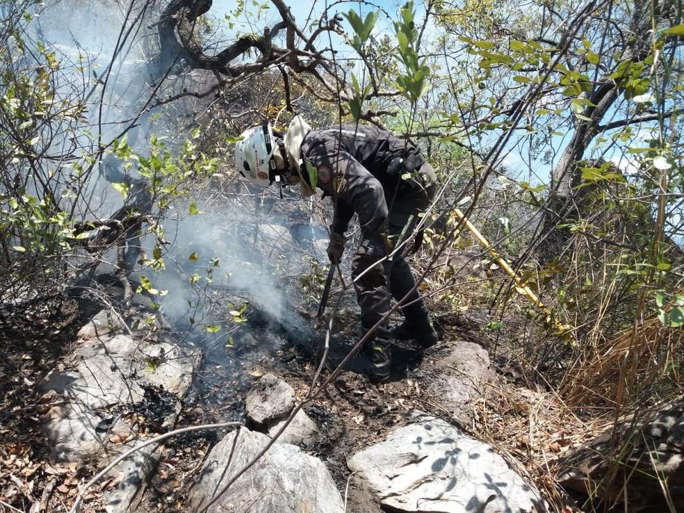 Após quase uma semana, incêndio em vegetação de Rio de Contas, na Chapada Diamantina, ainda não foi controlado — Foto: Divulgação