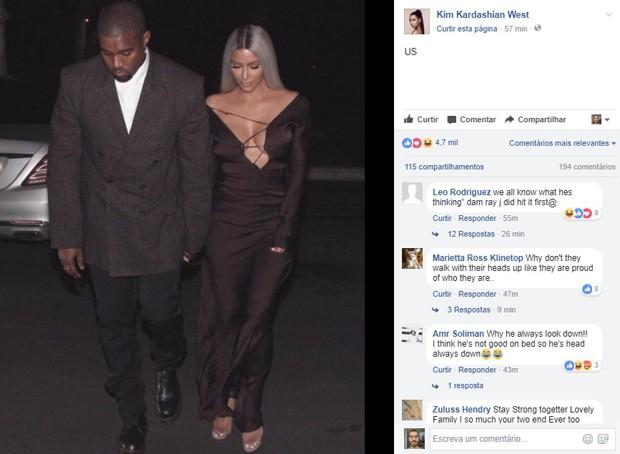 Kim Kardashian e Kanye West  (Foto: Reprodução/Facebook)