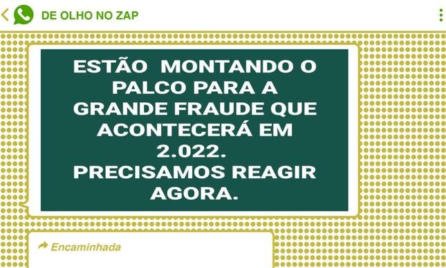 Conspirações deram o tom das mensagens em diferentes chats a favor do presidente Jair Bolsonaro, um dia após o ex-presidente Lula se tornar elegível para a disputa de 2022
