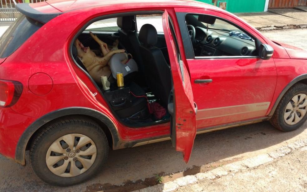 -  Preso por dirigir bêbado, motorista transportava porco morto em cadeirinha de bebê na BR-070  Foto: PRF/Reprodução