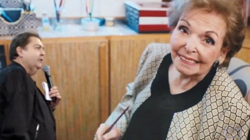Fausto Silva homenageou a mãe, dona Cordélia, em edição do Domingão em 2020 (Foto: Reprodução/TV Globo)
