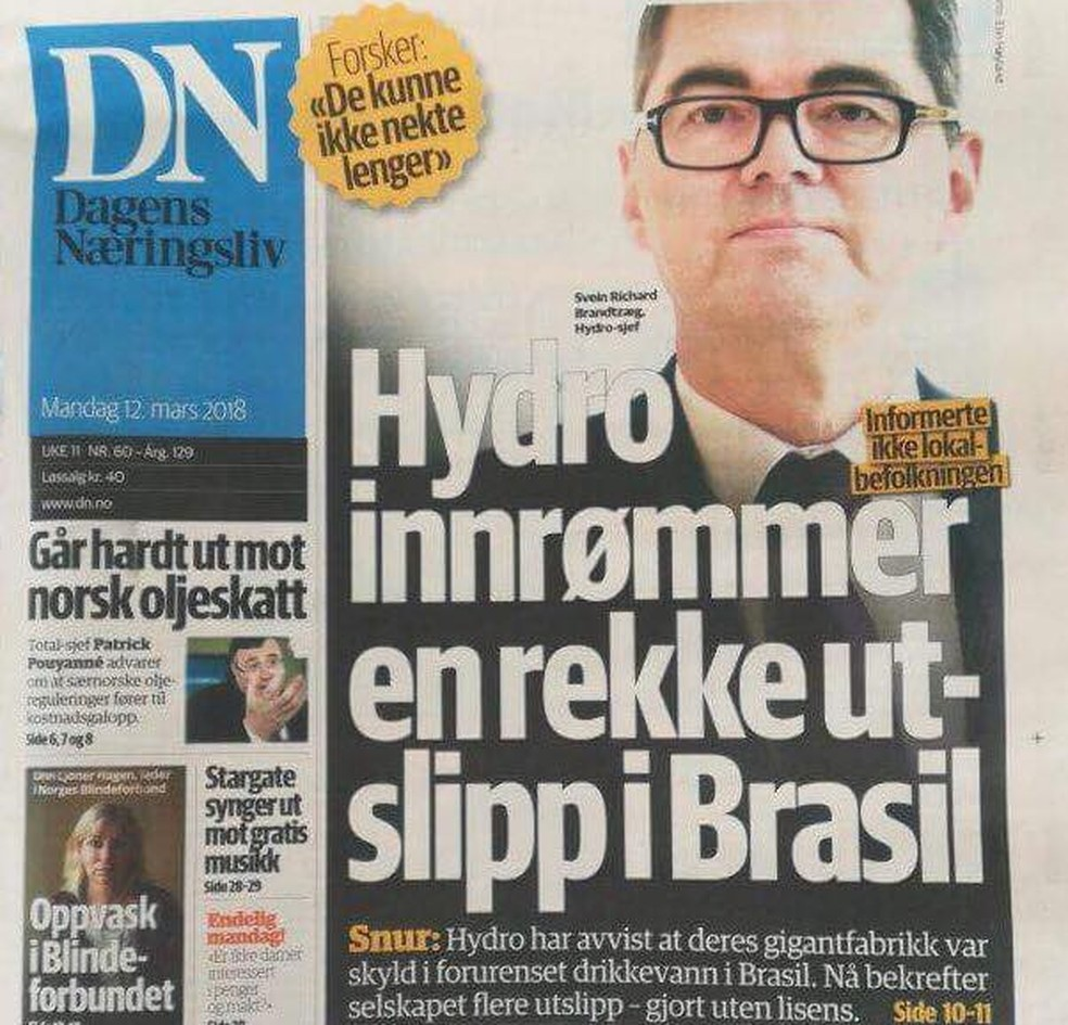 -  Manchete de jornal da Noruega estampa entrevista com diretor: Hydro confirma emissões ilegais no Brasil  Foto: Reprodução/DN