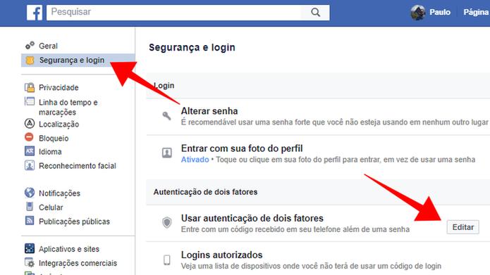Edite a opção de verificação em duas etapas (Foto: Reprodução/Paulo Alves)