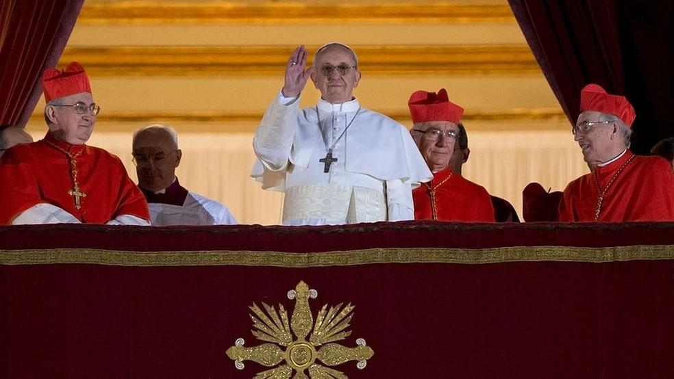 O papa Francisco foi eleito em 2013, após a súbita renúncia de Bento 16 — Foto: Getty Images via BBC