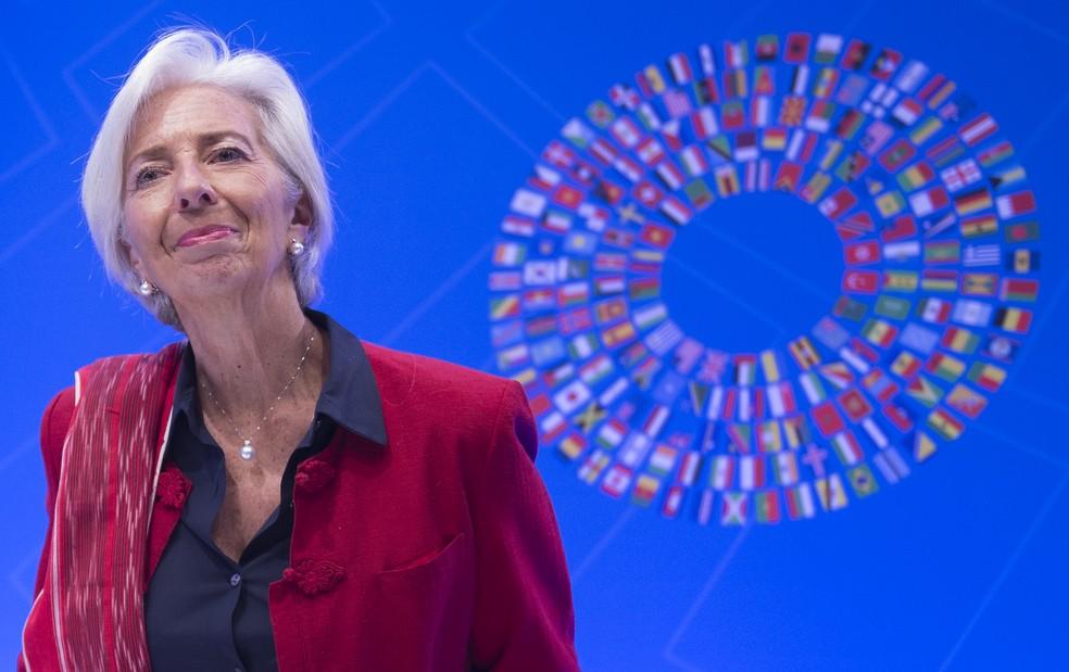 Christine Lagarde, diretora do Fundo Monetário Internacional (FMI) — Foto: ANDREW CABALLERO-REYNOLDS / AFP