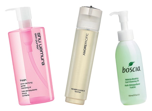 Fresh pore Clarifying Gentle Cleansing oil, US$ 31, Shu Uemura; Treatment Cleansing oil Face & Eyes, US$ 50, AmorePacific; Make up-Break up Cool Cleansing oil, US$ 26, Boscia (Foto: Reprodução)