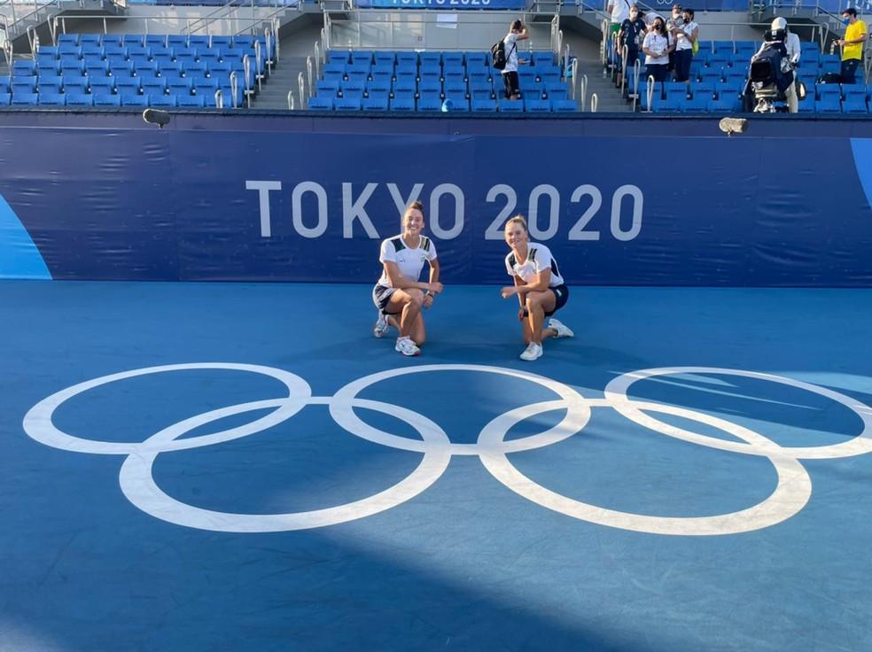 Laura Pigossi e Luiza Stefani, tênis, Olimpíadas de Tóquio 2020 — Foto: Rafael Bello/COB