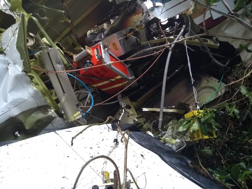 Destroços do avião que caiu no Oeste catarinense — Foto: Alex Pacheco/ Atual FM