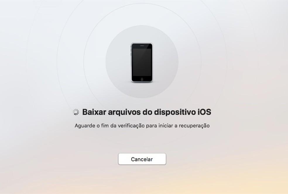 Tela do software Data Recovery com a pesquisa de arquivos deletados do iPhone — Foto: Reprodução/Marvin Costa
