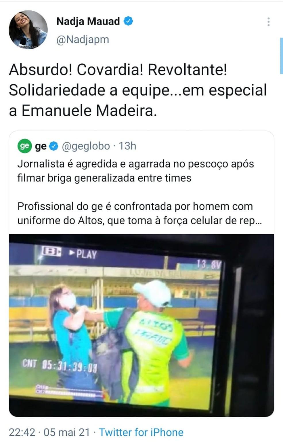 """Agressão contra jornalista viraliza e causa comoção: """"Cena criminosa e absurda""""  — Foto: Reprodução/Twitter"""