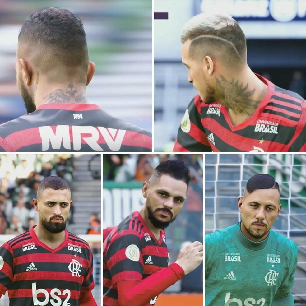 Gabigol, Trauco, Léo Duarte, Pará e Diego Alves estão com faces ultrarrealistas no PES 2020 — Foto: Reprodução