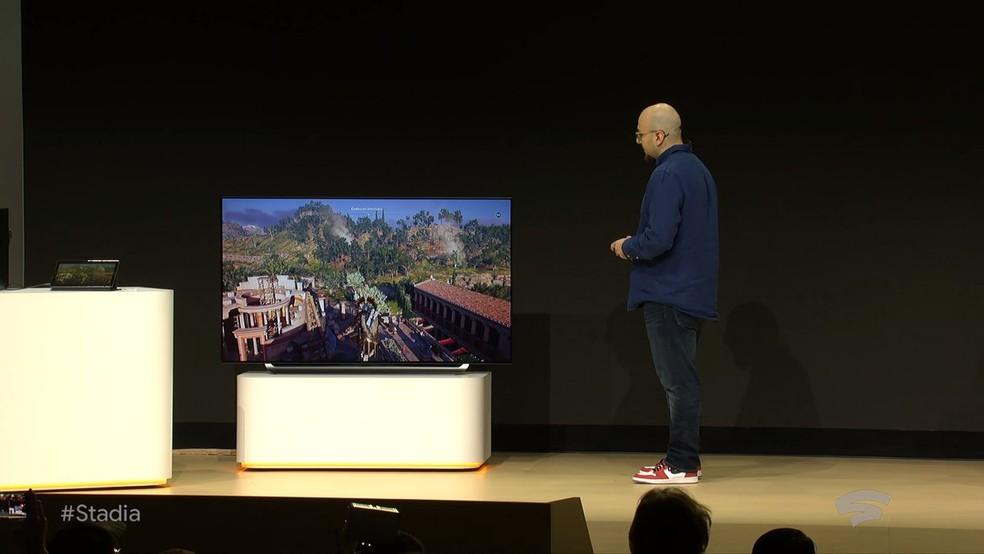 Demonstração do Google Stadia em um monitor — Foto: Divulgação/Google
