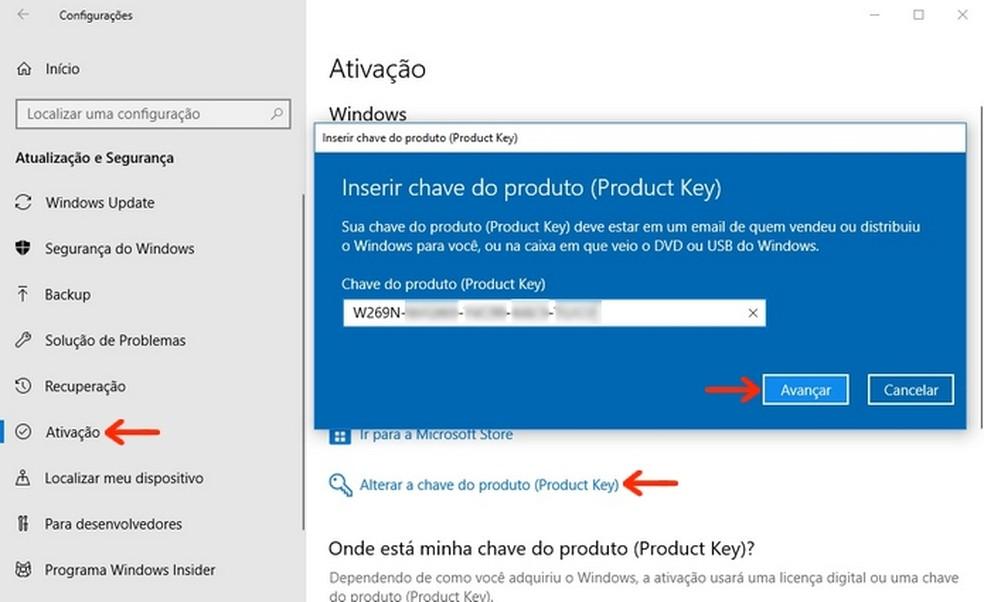 Ativação do Windows 10 por meio de chave do produto (Product Key) — Foto: Reprodução/Raquel Freire