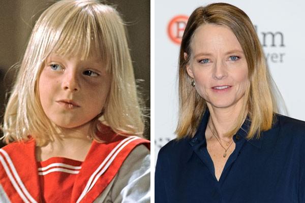 A atriz Jodie Foster na infância e hoje (Foto: Reprodução/Getty Images)